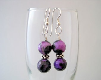 Purple Fire Agate Earrings