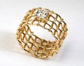 MESH Unique Engagement Ring, Half carat Diamond Ring,14k Yellow Gold Ring, Gold Mesh Ring, Princess Diamond Engagement Ring