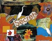 Heron Collage Art, Typography Art, Fine Art, Orange And Blue, Digital Print, Woodland Animals, Wall Decor, Giclee Print, 5 x 7 OR 8 x 10