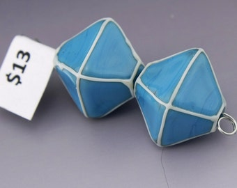 Glass Lampwork Beads Handmade Turquoise Blue Crystals with Ivory Pair Heather Behrendt BHV SRA LETeam