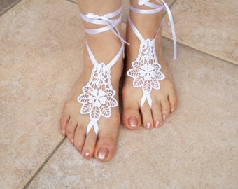 Bridal  Barefoot Sandals, Beach, Pool , Wedding Accessories,Wedding Gloves,Sandal Shoes