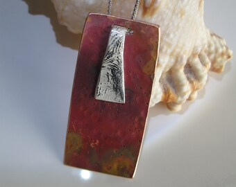 Colored Copper Pendant with Textured Sterling Accent, Sterling Chain Included
