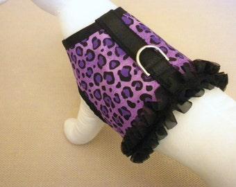 Purple Leopard Ruffle Dog Harness Vest