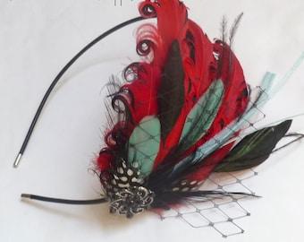 ROCKABILLY Headband - Red Aqua Blue and Black Curled Goose Feather Headband or Fascinator