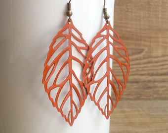 PAPRIKA Leaf Earrings - Autumn Fall Burnt Orange Jewelry Accessory - Skeleton Filigree Leaf Earrings on Antique Bronze Earring Hooks