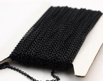 Black Chain bulk Chain, 32 ft of Round Soldered Chain Cable Chain - 2x2.5mm SOLDERED link - Necklace Wholesale chain