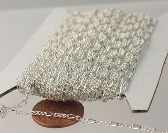 Sterling Silver Plated Chain Bulk Chain, 100 feet of SOLDERED Sturdy figaro chain 2x4.5mm - Necklace Wholesale Chain DIY Chain Bulk Chain