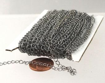 10 ft Gunmetal SOLDER Curb Chain EXTENDER Chain - 4x3mm