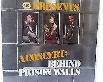 1978 Johnny Cash Linda Ronstadt Roy Clark Concert Behind Prison Walls LP Record Album, Still Sealed