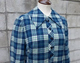 Plaid Wool Dress Vintage 1960s Blue Woven Pendleton