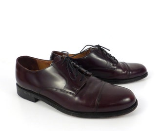 Burgundy Oxford Shoes Leather Vintage 1980s Men's Cole Haan size 8 1/2 D