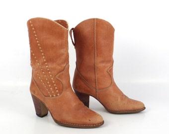 Brown Cowboy Boots Vintage 1980s Carmel Brazil Women's size 5 1/2