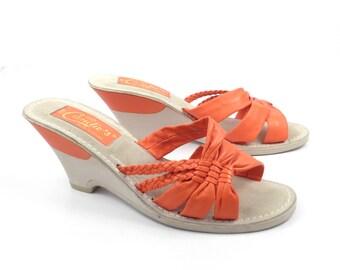 Candies Vintage 1970s Orange Leather Wedge High Heel Sandals size 8