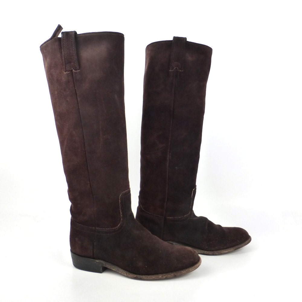 frye boots vintage 1990s suede chocolate brown