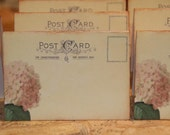 Wedding Place Cards, Blush Pink, Vintage Post Cards Placecards, Escort Cards, Tent Table Wedding Pink Hydrangea Placecards