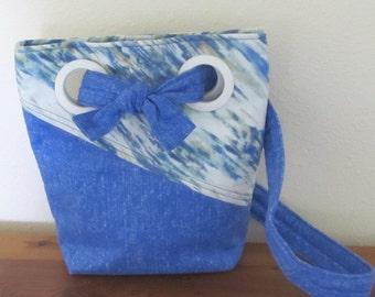 Blue  Medium Size Purse With Grommets