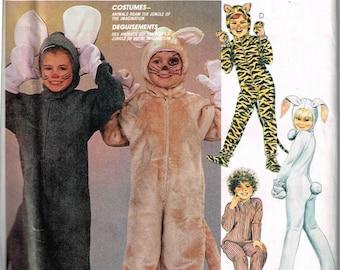 Child Animal Costume Mouse Tiger Cat Rabbit Jumper Halloween McCalls 2624 Sewing Pattern Boys Girls Toddler Size 4