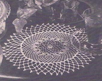 Vintage Crochet PATTERN 4402 Lattice Edge Doily 9 1/2 inch 1940s PDF Instant Download