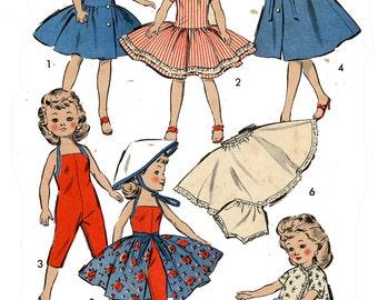 Vintage Doll Clothes PATTERN 8814 for Little Miss Revlon Miss Debutante 10 1/2 inch doll 1950s