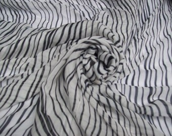 "Silk 100% sheer crepe, digital print-fiber reactive dyes-zebra print- black and white wavy stripes 54"" Wide SECONDS/Clearance Priced to move"