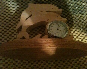 Wooden double dolphin clock