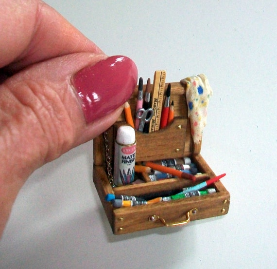 Miniature Artist Paint Box 1:12 scale