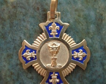 French Antique Sterling Silver and Blue Enamel Patee Cross with Fleur de Lis Chalice Eucharist Communion Medal Pendant