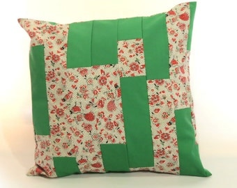 """18"""" decorative pillow cover from Vintage fabric red white black floral with Roosters set with green"""