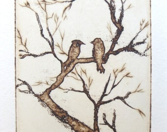 two little love birds in the trees - original etching, dry point and aquatint.