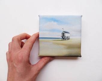 beach hut on stilts at the beach mini canvas print