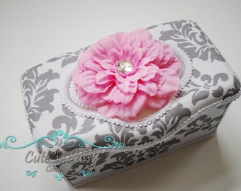 Boutique Baby Wipe Tub - White and Gray Damask Covered Nursery Wipes Box