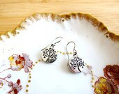 Mini Antiqued Tree of Life Embossed Charm Earrings