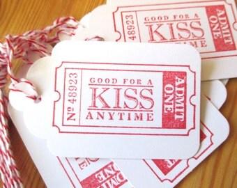 Kiss Valentine Tags, Admit One Valentine Tags
