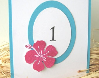 Tropical Wedding Table Numbers, Hibiscus, Hawaii Wedding Table Numbers