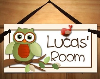 Owl and Birdie Critters in Neutral Tones Bedroom and Baby Nursery Kids Bedroom DOOR SIGN Wall Art DS0393
