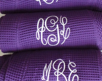 10 Personalized Bridesmaid robes waffle weave short robes Monogrammed robes, Names, Layered names, Titles. You choose from many colors. Cute