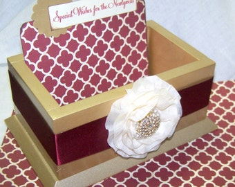 GUEST Book Box,  Advice Box, Burgundy Guest Book, Marsala Guest Book, Gold Card Box, Gold and Burgundy, Wine, Marsala Wedding, Custom Colors