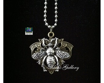 Antique Silver & Brass Queen Bee Pendant Necklace Help Save the Bees Idaho Gallery
