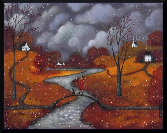 Winter Sends A Greeting  a First Snow Autumn Fall Leaves Print by Deborah Gregg