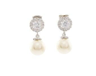 Bridal Pearl Earrings ,Wedding  Earrings , Ivory Pearl Earrings , White Pearl Earrings, Bridal Swarovski Earrings ,Wedding Jewelry