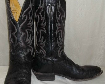 Vintage Mens Nocona Leather Cowboy Western Boots 10 1/2D Womens 12 1/2
