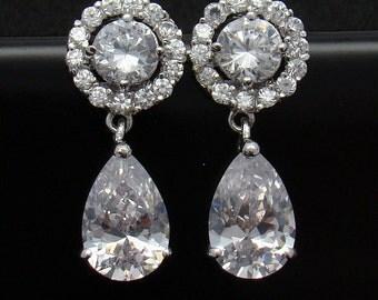 Clear Cubic Zirconia Earrings Stud Post Bridal Delicate Art Deco Earrings Sparkle Wedding Jewelry
