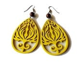 Yellow Phoenix Wooden Earrings with Chocolate Brown Beads