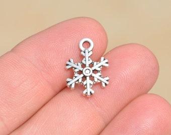 BULK 50 Silver  Snowflake Charms SC1505