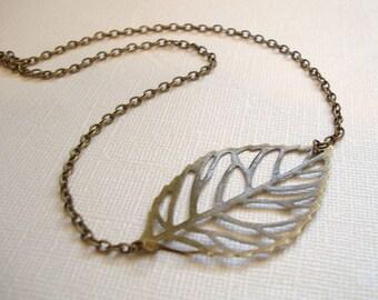 Leaf Necklace Leaf Jewelry Sideways Leaf Necklace Brass Leaf Necklace Leaf Pendant Jewelry