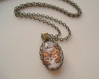 Butterfly Necklace Monarch Butterfly Pendant Glass Dome Necklace Summer Jewelry Bug Jewelry