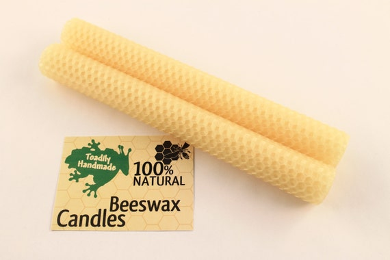 Hand-rolled Beeswax Honeycomb Tapers in Buttercup  Available in 6 Heights