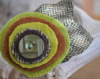 Apple Green Herringbone - UPcycled Wool Felt Flower Hair Clip
