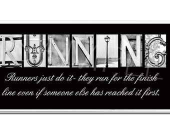 RUNNING  Inspirational Plaque black & white letter art