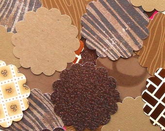 DESTASH - 25 Assorted Brown 2 inch Scallop Circle Embellishments